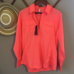 NEW women's Fluorescent Pink Long Sleeve Top